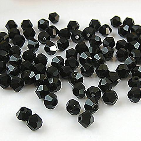 Gemini _ Mall® 100perles toupies en verre cristal à facettes 4mm pour fabrication de bijoux, noir
