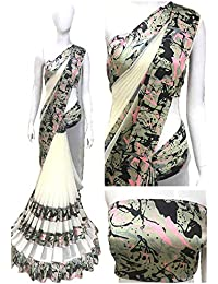 Shailaja Sarees Women's Georgette Saree With Satin Lace Border Latest Saree For Women Latest Design Printed Party...