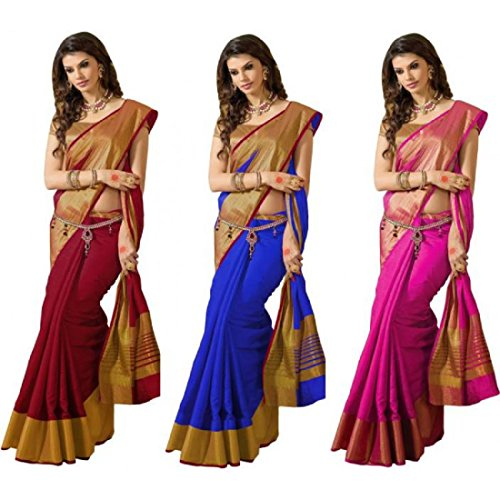 Rajeshwar Fashion Cotton Silk Saree (PALU JARI COMBO 3 PINK BLUE MAROON_Multi-Coloured_Free...