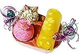 Lashuma Badepralinen Badepralinen Geschenkset - Sonnenschein - mit 2x Badetrüffel und einer gerollten Duftseife Honigmelone