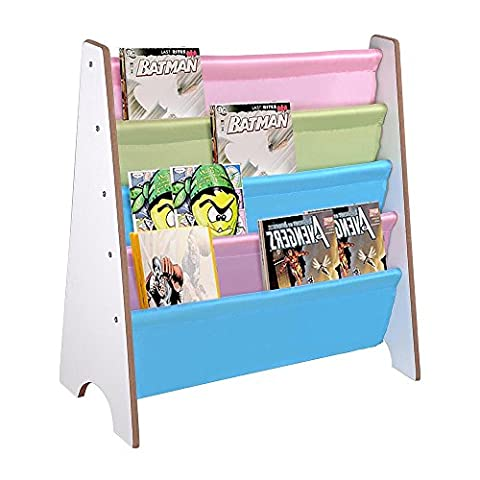 ReaseJoy Wooden Kids Book Shelf Sling Storage Rack Organizer Bookcase Display Holder Ideas for Nursery Room White