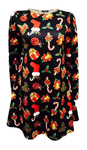 Trendz -Femme Plus Size Père mur Tartan Bells Noël Robes Swing Candy Gift black