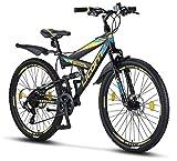 Licorne Bike Strong (Schwarz/Blau/Lime) 26 Zoll Mountainbike Fully, geignet ab 150 cm, Scheibenbremse vorne und hinten, Shimano 21 Gang-Schaltung, Vollfederung, Jungen-Herren Fahrrad