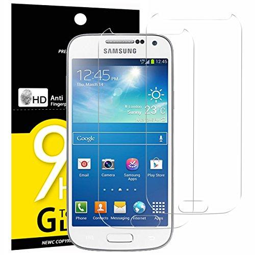 2 Pack Verre Trempé Samsung Galaxy S4 MINI, NEWC® Film Protection en Verre trempé écran Protecteur vitre - ANTI RAYURES - SANS BULLES D'AIR -Ultra Résistant Dureté 9H pour Galaxy S4 MINI