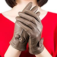 Guantes OUFLY de piel suaves. Guantes cálidos para el invierno de forro polar, color caqui, tamaño talla única