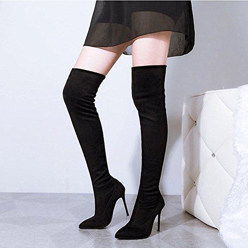 Padgene Damen Spitze Overknee Stiefel Stiletto Stiefelletten High Heels Pumps Boots Elastischer Schaft Schwarz