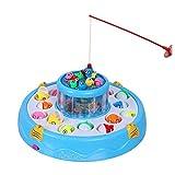 Angeln Spielzeug Magnete, Badespielzeug, Fischen-Spielzeug 2-Schicht-Teich enthält 4 Angelrute und 26 Fische - Blau