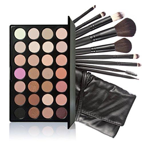 Pure Vie® Pro 9 Stück Make Up Pinselset mit 28 Farben Lidschatten Palette Makeup Kit - Ideal für Sowohl den Professionellen als auch Persönlichen Gebrauch