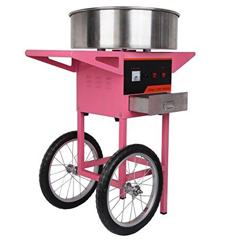 Iglobalbuy Machine à Barbe à Papa avec Tiroir Chariot Professionnelle 1300W Rendement par 30 Secondes pour Anniversaire Mariage