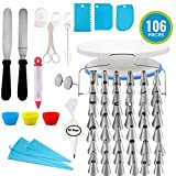 Cake Decorating Supplies Kit 106pcs - 48 Numbered Icing Tips, Cake Turntable, Numbered