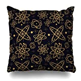 Klotr Fundas para Almohada Drawing Atomic Mid Century Style 50S Abstract Atom Design Color Pillowcase Square Size 18 X 18 Inches Zippered Home Decor Cushion Case