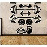 Gimnasio vinilo etiqueta de la pared mancuernas gimnasio entrenamiento extraíble etiqueta de la pared 58X59cm