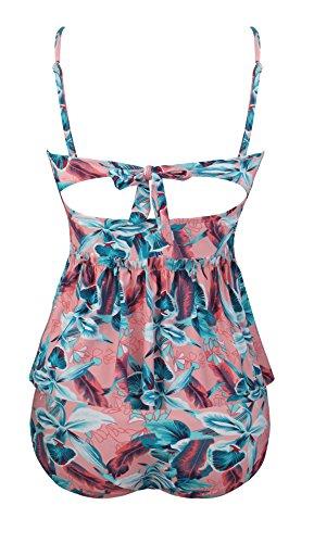 Angerella Damen Vintage Retro Floral Print Ruffles Tankini Oben Schlanke Taille Bikini Set - 3