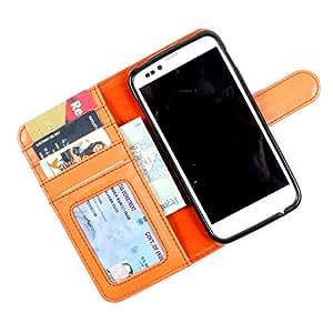 i-KitPit PU Leather Wallet Flip Case Cover For HTC Desire 700 dual sim (Orange)