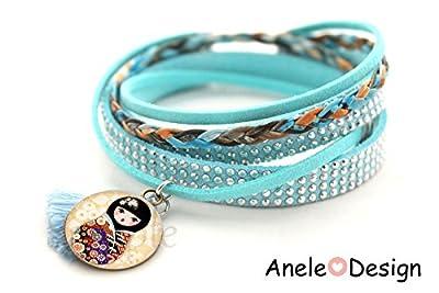 Bracelet * Matriochka Kawaii * kokeshi baby dormeuse bleu beige rouge cabochon enfant fille