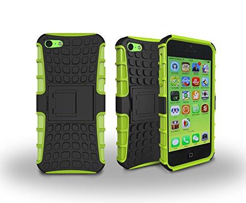 Apple iPhone 5C Cover, Case First pneumatici strisce Hybrid Combo Case antiurto armatura robusto Dual Layer Case Cover con Cavalletto per Apple Iphone 5C verde