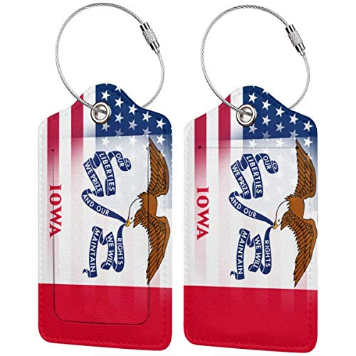 USA Iowa State Flag Leather Travel Luggage Tag Suitcase ID Tags Baggage Bag Tag Labels 2 PCS 00df6826 Iowa State Flower