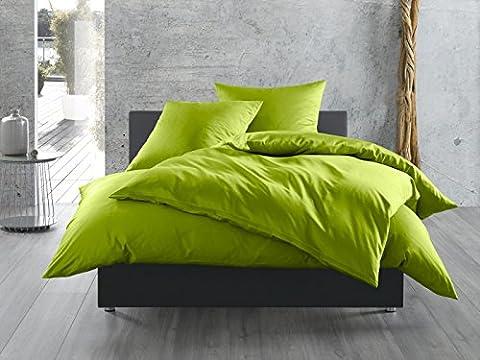 Mako-Satin Baumwollsatin Bettwäsche uni einfarbig zum Kombinieren (Kissenbezug 40 cm x 40 cm,