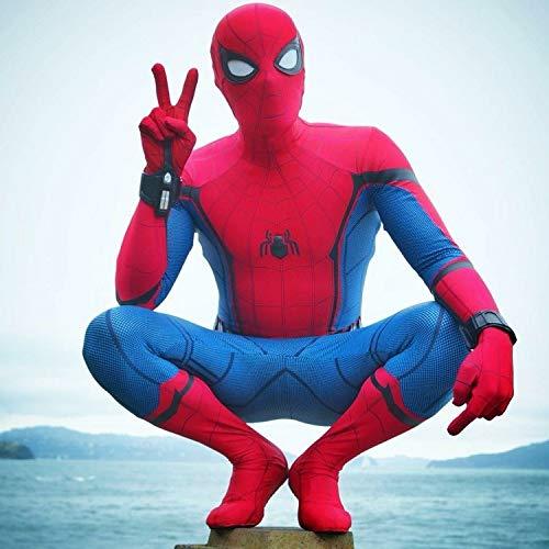 POIUYT Spiderman Anime Kostüm Bürgerkrieg Ps4 Erwachsene Spiderman Strumpfhosen Cosplay Kleidung Halloween Erwachsene Kostüm Party Kostüm Rot- 180-190cm,Red-XXL (Bürgerkrieg Damen Kostüm)