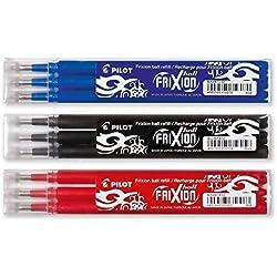 Pilot Frixion - Juego de bolígrafos roller de tinta - 3 minas de repuesto Sets de 3 unidades cada uno en los colores azul, rojo, negro 3 x 3 unidades (total 9 unidades)
