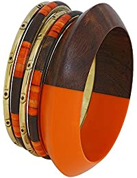Brown Burnt Orange and Gold Bracelet Bangles Indian Costume Fashion Jewelry Bracelet Gift for Her