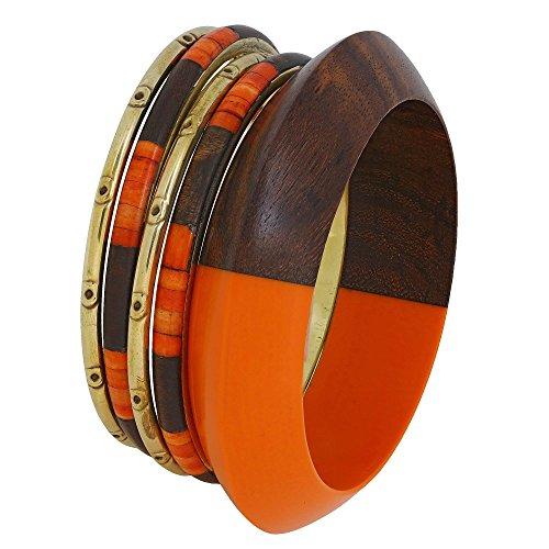 Marrone bruciato arancione e oro costume indiano il braccialetto dei braccialetti regalo dei monili per lei