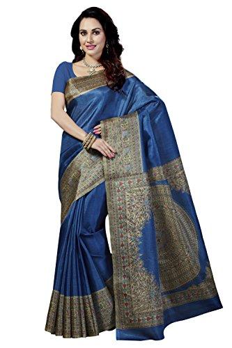 Rani Saahiba Women's Madhubani Printed Bhagalpuri Art Silk Saree ( Skr3106_Royal Blue...