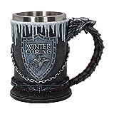 Game of Thrones Krug deluxe 3D Stark Wappen Schattenwolf Deko 600ml grau