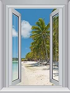 JP London Cwposlt7004Ustrip Lite amovible Autocollant mural fenêtre panoramique Solitude Beach Paradise Palm, 45,7cm X 61cm