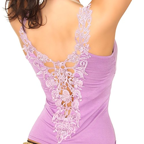 In-Style Damen Shirt & Träger-Top mit Stickerei Einheitsgröße (32-38) lila hell