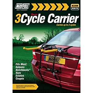 Maypole Quality Rear Mounted 3 Cycle Carrier - Saloon , Hatchbacks , Eastate & 4x4 Cars