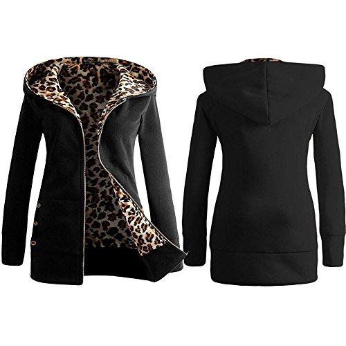 Sweat A Capuche Femme Kangrunmy Veste Capuche Hooded Femmes Plus Velours Plus Leopard Fermeture Manteau Pardessus Outwear Tops Sweatshirt Coat Overcoat Outwear Clothes VêTements B