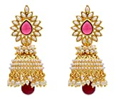 Shining Diva Pink Gold Plated Jhumki Ear...