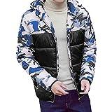 Xmiral Herren Mantel Winter Camouflage Print Pullover Langarm mit Kapuze Tops Bluse (EU 10,Blau)