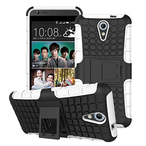 DEFENDER Hard Armor Hybrid Rubber Bumper Flip Stand Rugged Back Case Cover For HTC DESIRE 620G / 620 Dual Sim - White