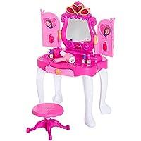 HOMCOM 23 pcs Girls Princess Style Dressing Table & Stool Playset Toy Vanity Pretend Role Play Mirror kids Sensor Door Light & Music - Pink