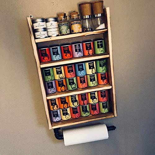 Industrial Design Gewürzregal aus Holz mit Küchenrollenhalter/dein Helfer in der Küche (Helfer Regal)