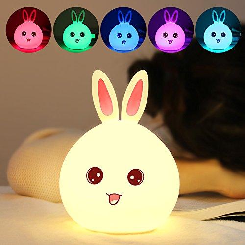 USB-Nachtlicht, LED-Atmosphärchenlicht, bunter Sensor für das Kind mit Silikon-Hasen, mit Schlaflicht, pink, getupft