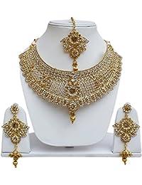 Lucky Jewellery Designer Golden White Color Stone Necklace Set For Girls & Women