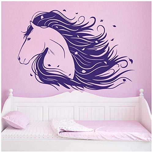 Vinyl Wandtattoos Für Mädchen Zimmer Pferd Pony Aufkleber Dekor Geschenk Wandvinyl Repetable Raumdekoration Abziehbild Für Kindergarten56x81 cm - Pferd Mädchen Dekor Zimmer Für