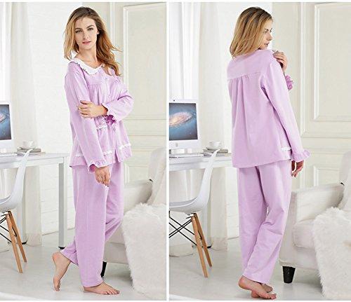 tonwhar Femme Automne/Hiver coton Lounge pyjama Set Violet