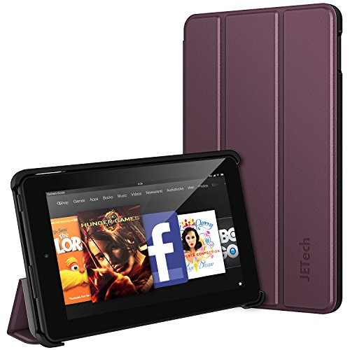 Fire 7 Hülle, JETech Schutzhülle Tasche Case Cover mit Standfunktion für Amazon Fire 7 Tablet (5th Generation - 2015 Modell) (Lila) (Lila Tablet)