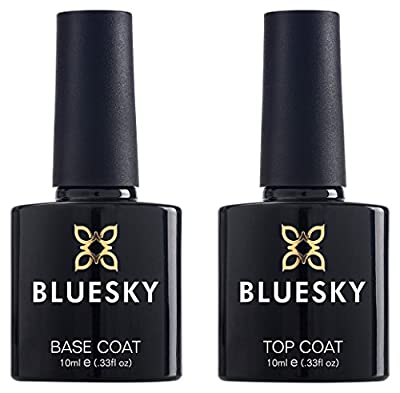 Bluesky Top and Base Coat Gel Nail Polish Set, UV/LED Soak-Off Gel Polish, 10ml