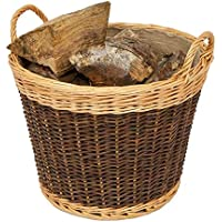 Woodluv 100% Organic Whole Willow Handmade Two Tone Log Basket with Rattan Jute Liner, Natural - 43cm (D) X 40cm (H)