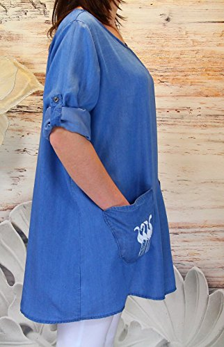 Charleselie94® - Tunique ample jean bohème grande taille poches LUGANA BLEU Bleu