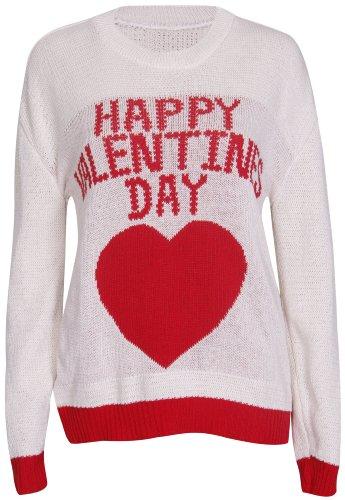 femmes cœur Happy Valentines Day KISS ME imprimé Nouveauté femmes col rond manches longues pull tricoté HAUT PULL Crème