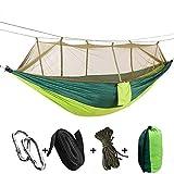 KEPEAK 1-2 Personen Camping Hängematte mit Moskitonetz, Outdoor Nylon-Hängematte Tragfähigkeit 300kg, (260 x 140 cm), Beste Fallschirm-Hängematte Fürs Freie oder einen Innengarten-Grün/Grün