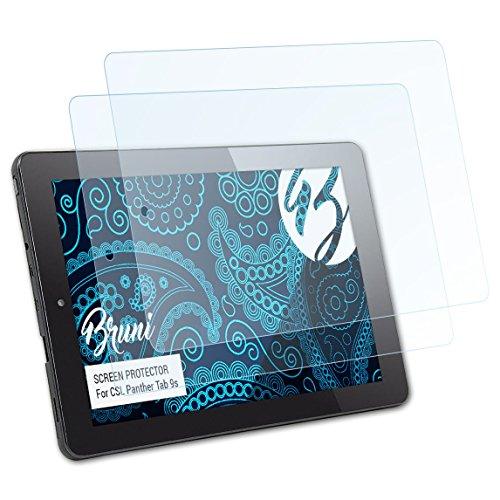Bruni Schutzfolie für CSL Panther Tab 9s Folie, glasklare Bildschirmschutzfolie (2X)