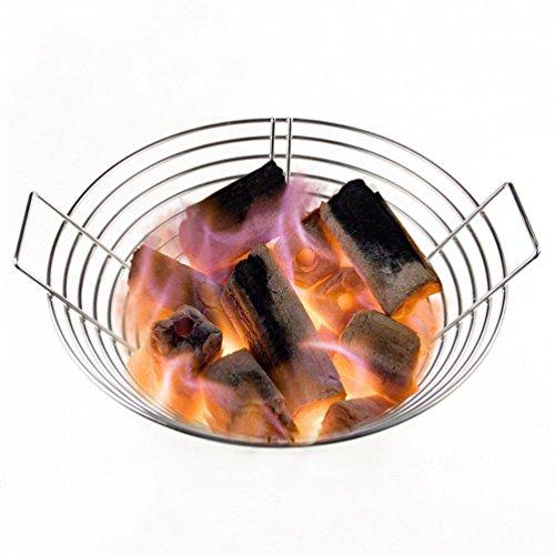 ency BBQ Zubehör Edelstahl Kohle Asche Korb Lump Kohle Feuerkorb passt für große (L) Big Green Egg und Kamado Joe Classic I / II oder andere Charcoal BBQ Grill ()