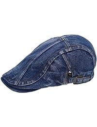 Hombres Vintage Denim Jean Newsboy Gorro Gorra Plana tapa tapas de Gatsby Ivy Irish caza sombrero azul oscuro